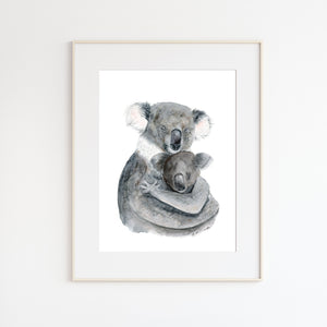 Mom and Joey Koala Watercolor Print