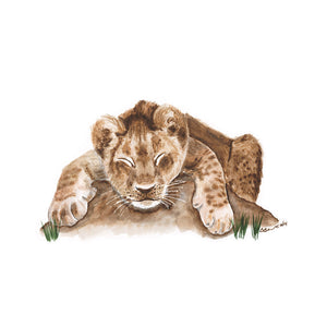 Sleeping Baby Lion Print