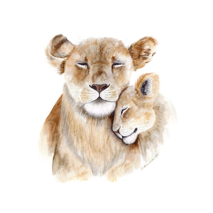 Mom and Baby Lion Nursery Art