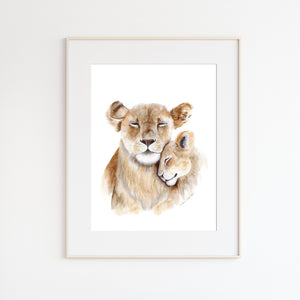 Mom and Baby Lion Watercolor Art