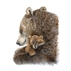 Mom and Baby Brown Bear Art Print