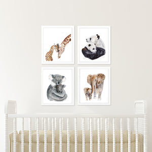 Safari Nursery Art Mom and Baby Print Set