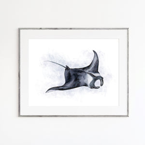 Manta Ray Watercolor Print