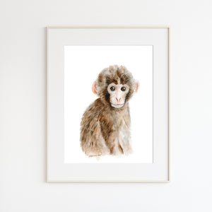 Monkey Watercolor Nursery Art