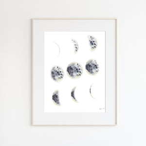 Lunar Phases Watercolor Print