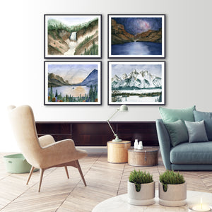 National Park Watercolor Print Set