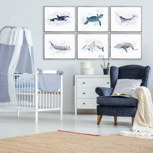 Ocean Animal Watercolor Print Set