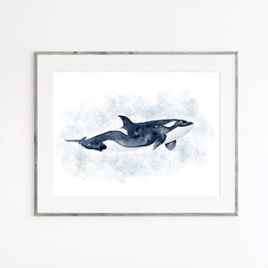 Orca Watercolor Print