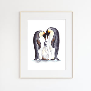 Penguin Family Watercolor Print