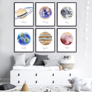 Planet Watercolor Print Set