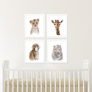 Safari Nursery Art Baby Portrait Set