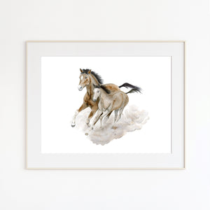 Running Mom and Baby Quarter-horses Nursery Decor