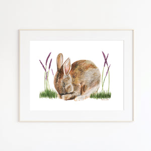 Sleeping Rabbit Nursery Print