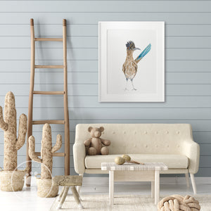 Bird Roadrunner Watercolor Print