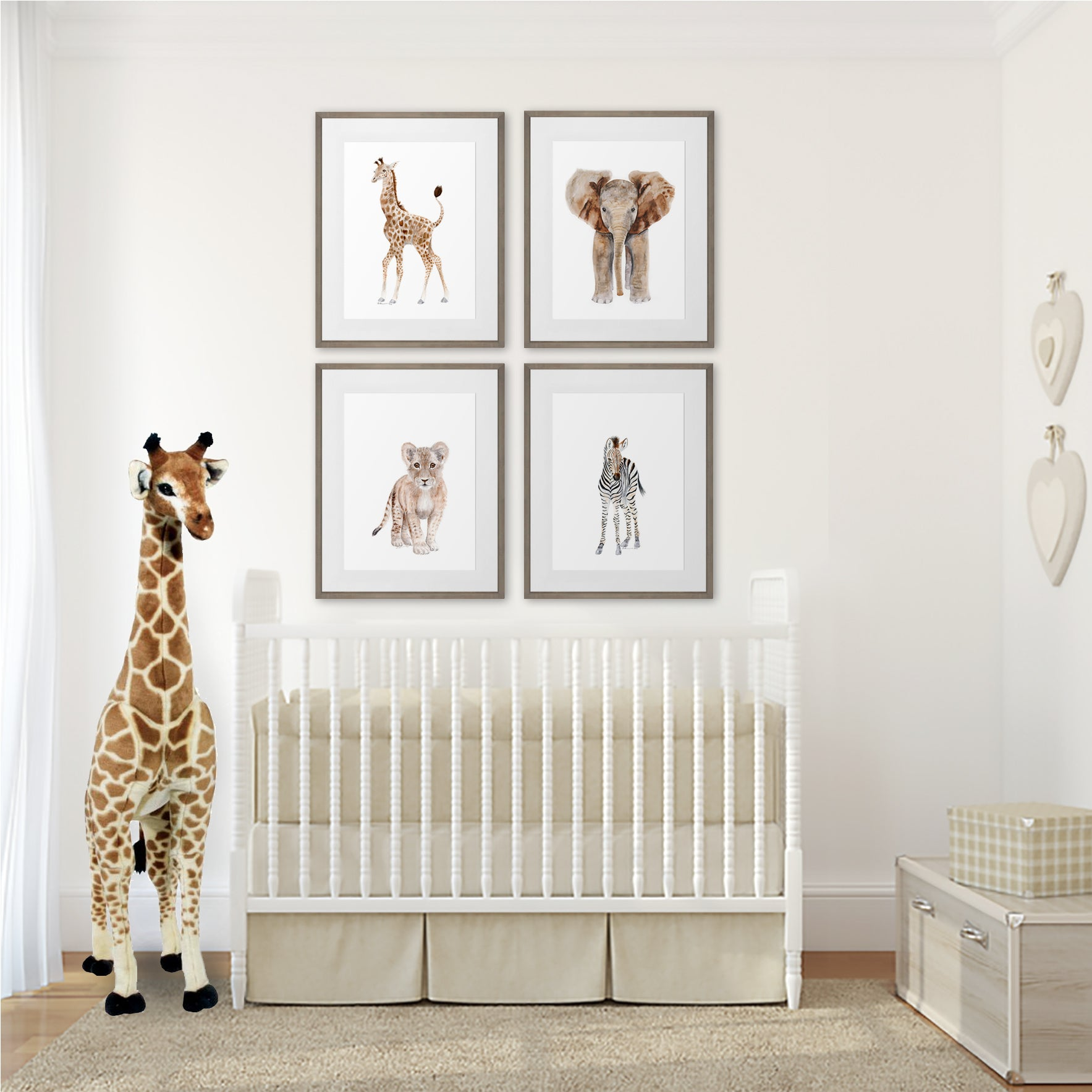 Framed Nursery Art - Safari Baby Animal Print Set of 4 ...