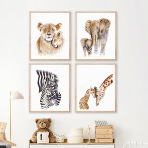 Mom and Baby Safari Animal Nursery Decor