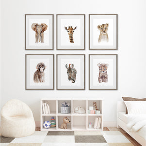 Framed Safari Nursery Decor Set of 6