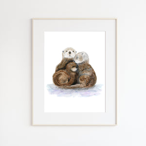 Sea Otter Family Nursery Art