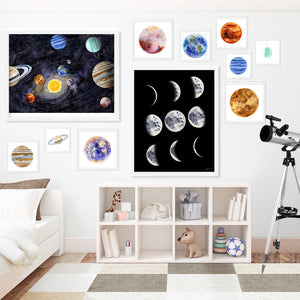 Solar System Print Set Including Moon Phases