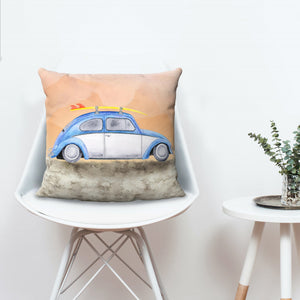 Surf's Up! VW Beetle Inspired Throw Pillow