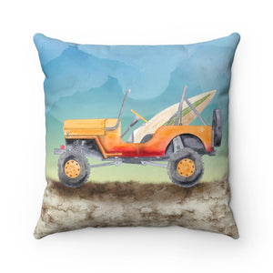 Surf's Up! Jeep Square Pillow