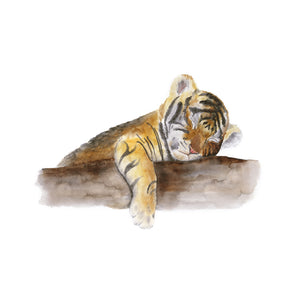 Sleeping Baby Tiger Cub Watercolor Print