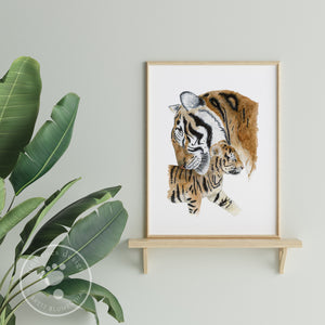 Dad Tiger and Cub Art Print