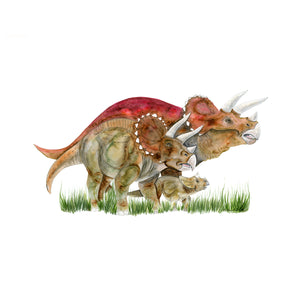 Triceratops Family Watercolor Print
