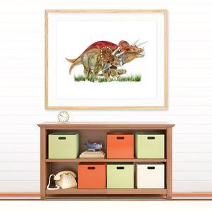 Triceratops Family Wall Decor