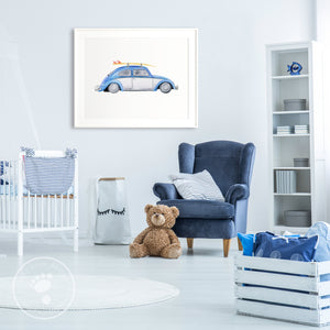 Blue and White Volkswagon Beetle Print
