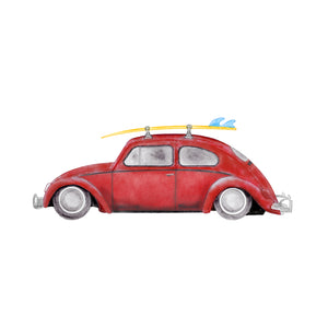VW Beetle Vintage Red Car Print