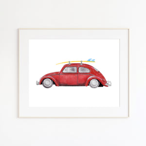 Red Volkswagon Beetle Illustration