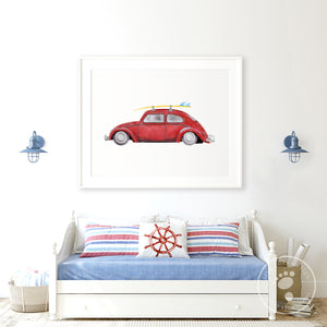 Red VW Bug Car Print