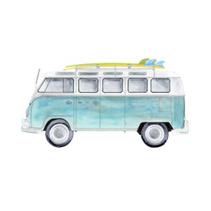 Volkswagon Camper Van with Surf Boards Wall Decor