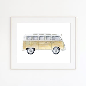 Volkswagon Van Watercolor Illustration