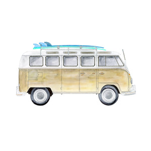 Volkswagon Camper Van with Surf Board Print