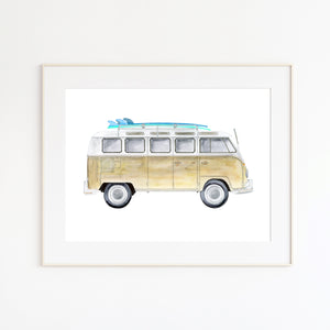 Tan Kombi Bus with Surfboards