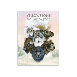 Old Faithful and Yellowstone Wildlife Print