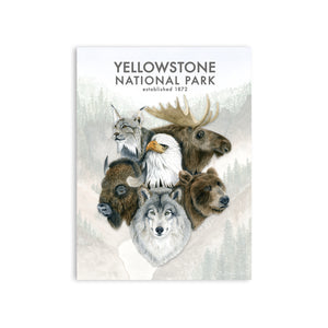 Wildlife of Yellowstone Watercolor Poster