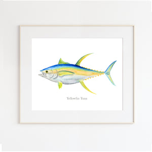 Yellowfin Tuna Watercolor Print