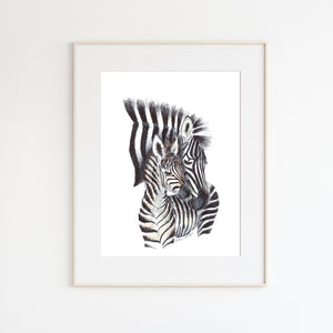 Mom and Baby Zebra Watercolor Illustration