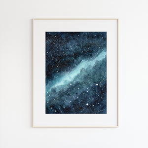 Abstract Blue Nebula Watercolor Painting