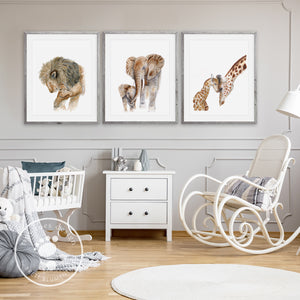 Parent and Baby Animal Nursery Decor