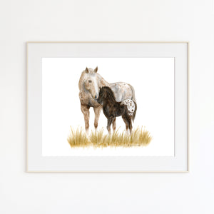 Mom and baby Appaloosa Watercolor Print