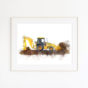 Backhoe Watercolor Print