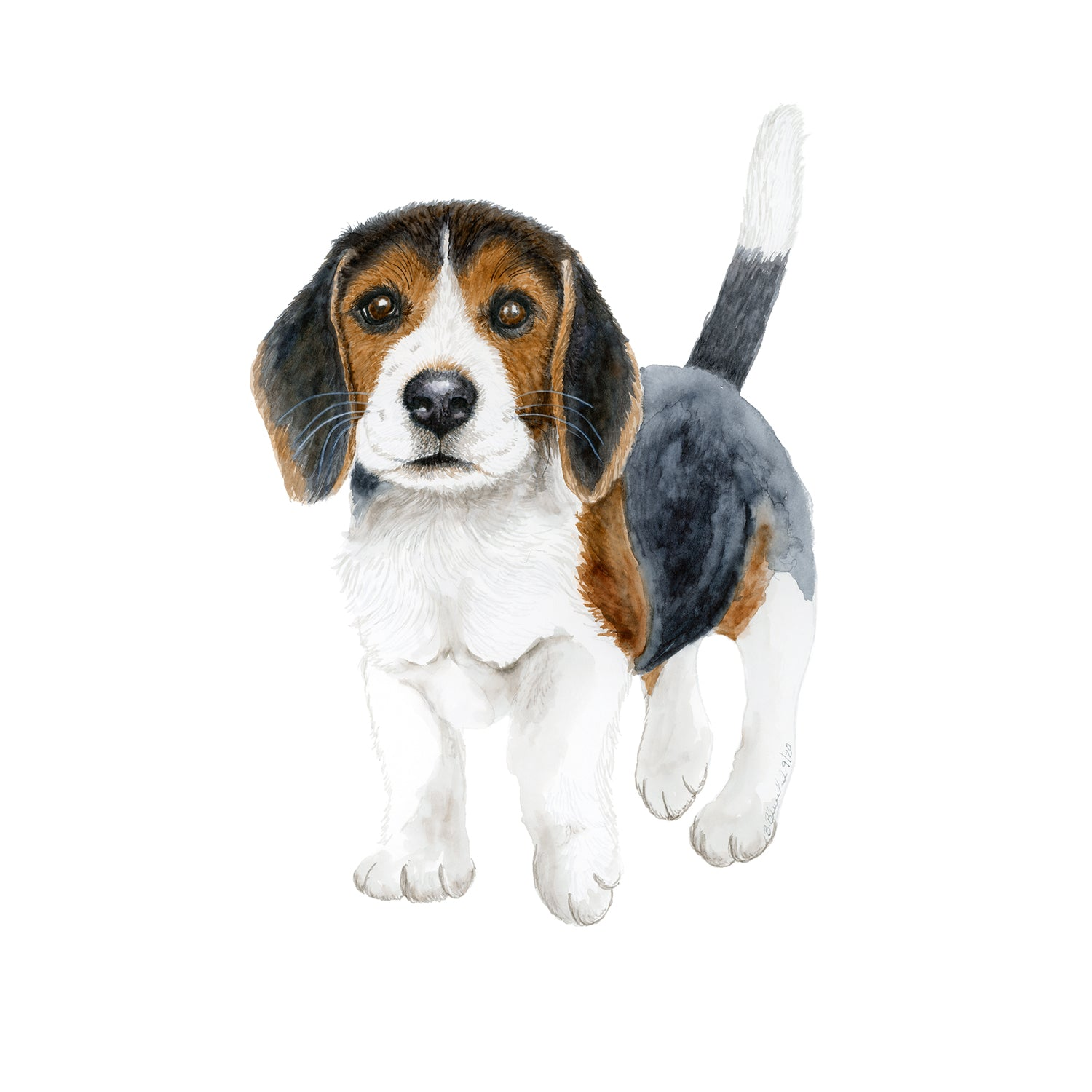 Beagle Puppy Nursery Print Dog Watercolor Art Tiny Toes Design
