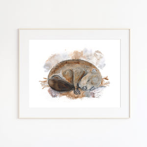 Baby Beaver Watercolor Print