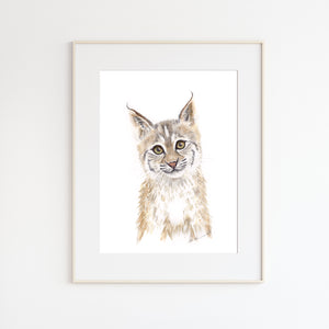 Bobcat Watercolor Portrait
