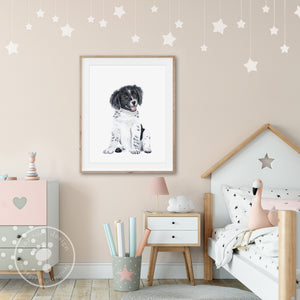 Border Collie Puppy Nursery Print