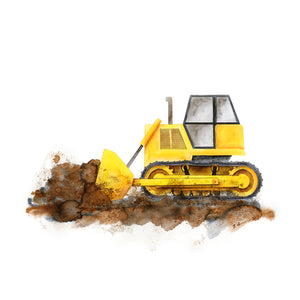 Bulldozer Watercolor Print